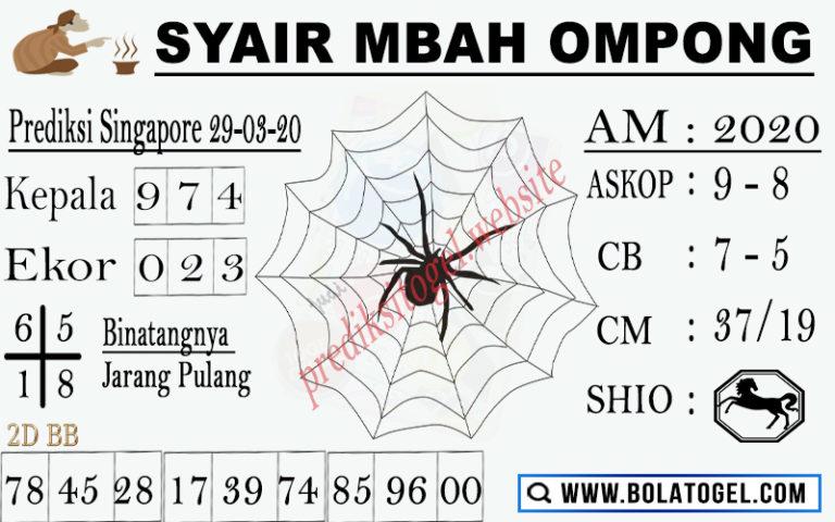 Prediksi Togel Singapura Minggu 29 Maret 2020 - Syair Mbah Ompong SGP