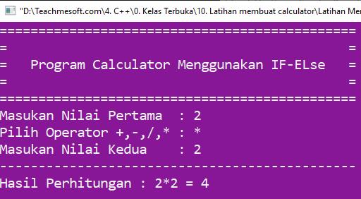 Running program program calculator sederhana