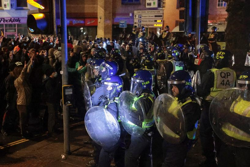 UK's Johnson criticises 'disgraceful' attacks on police at protest