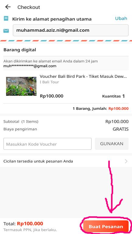 Melakukan Checkout Pemesanan Tiket di Aplikasi Marketplace Lazada.