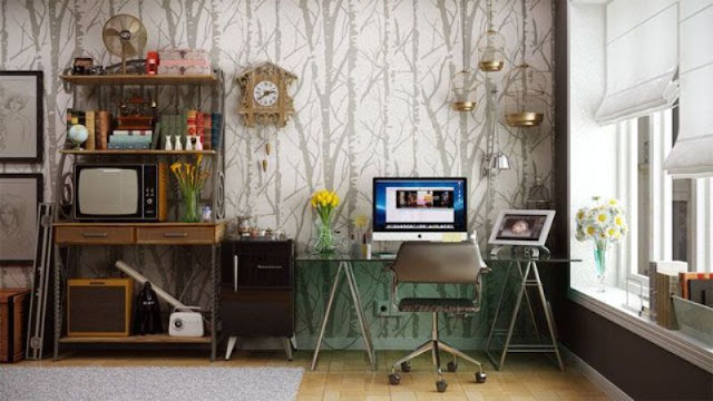 ruang kerja retro