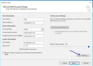 POP AND IMAP account setting