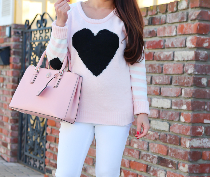 Betsey Johnson Heart Raglan Sweater, Christian Louboutin Pigalle pumps, Petite  white jeans, Tory Burch mini Robinson tote in rose pink