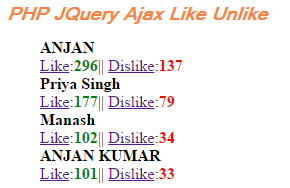 Live Like and Unlike in PHP JQuery Ajax