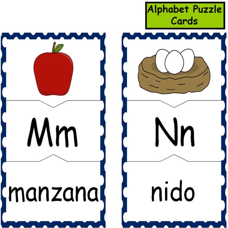Alphabet Puzzle Cards in Spanish
