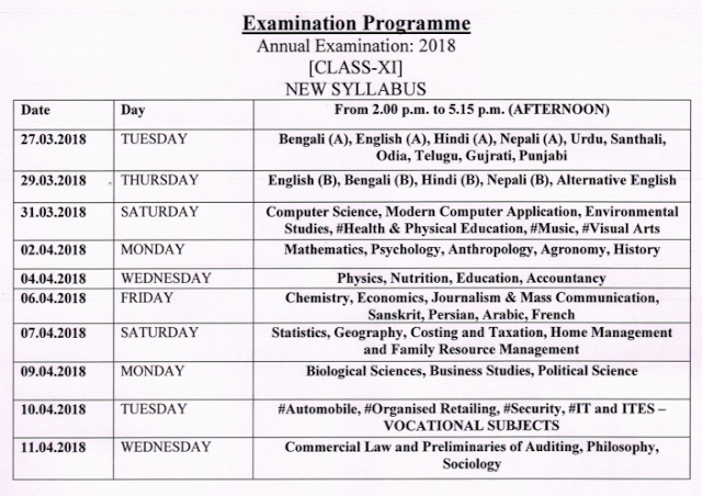 11th Class Exam Routine 2018 For New Syllabus