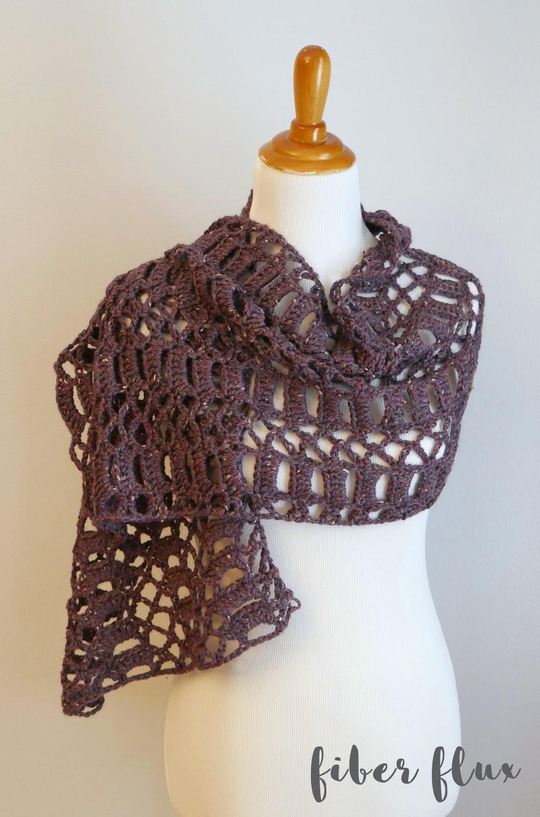 Fiber Flux Free Crochet Patternraspberry Tweed Shawl