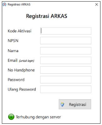 Laman Registrasi ARKAS