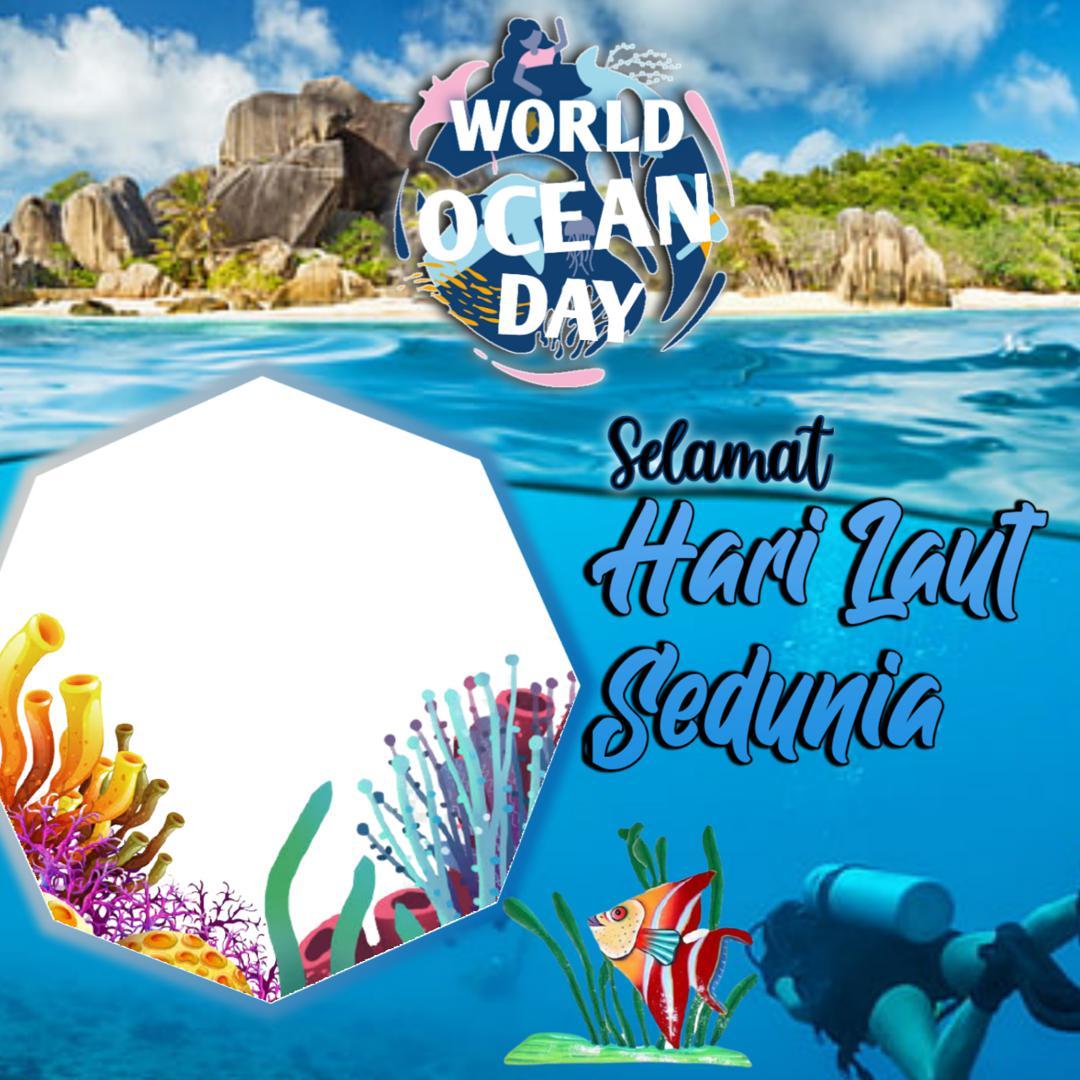 Template Desain Bingkai Twibbon World Ocean Day 2021 - Hari Laut Internasional 2021