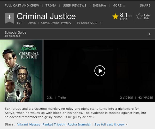 Download Criminal Justice S01 2019 Hotstar Web Series Hindi WebRip All Episodes 480p | 720p