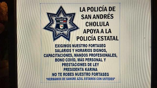 Policías de San Andrés Cholula también piden mejores condiciones laborales