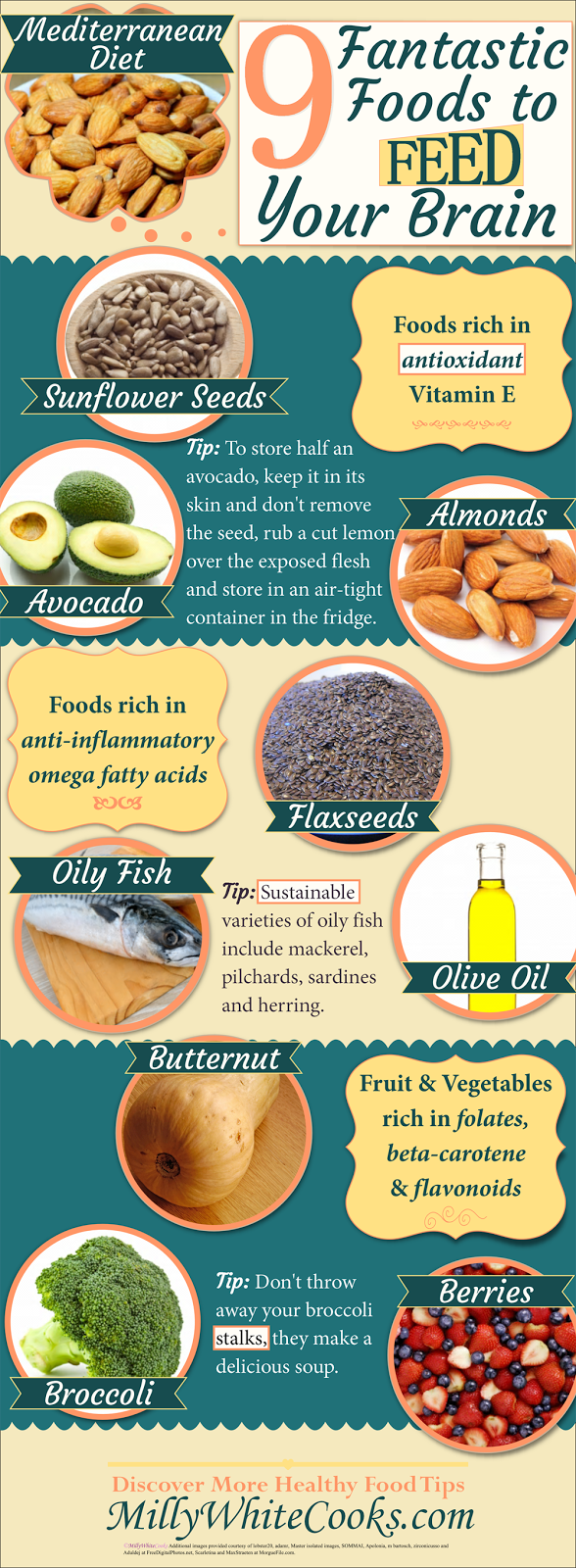 9 Fantastic Foods to Feed Your Brain on the Mediterranean Diet Infographic