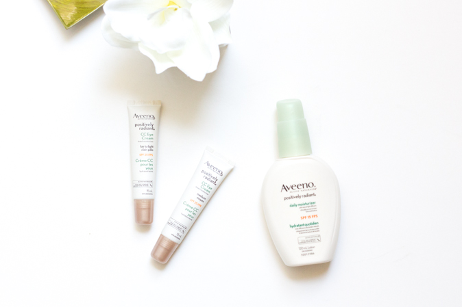 aveeno postively radiant daily moisturizer and cc eye cream review
