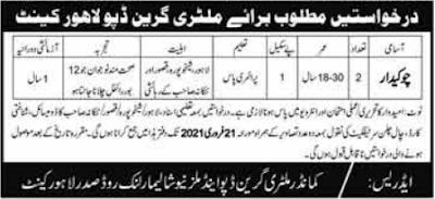 Military Green Depot Chowkidar Jobs 2021