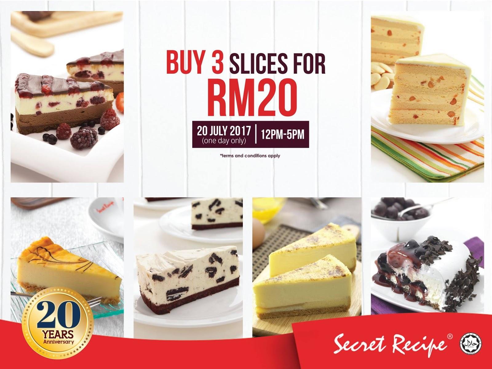 3 Slices Of Secret Recipe Cake For Rm20 Regular Range 12pm 5pm 20 July 2017