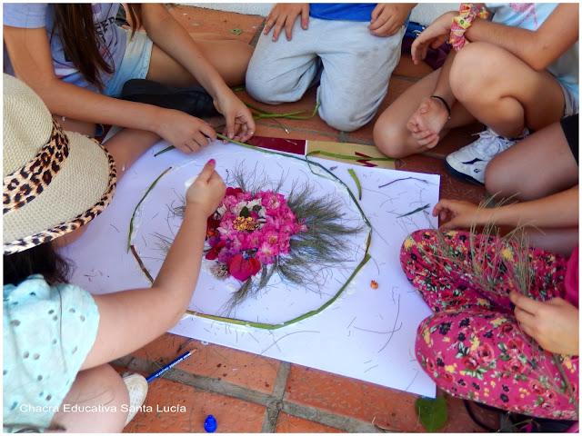 Creando un mandala de flores y hojas - Chacra Educativa Santa Lucía
