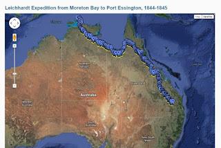 Mapa expedición Ludwig Leichhardt