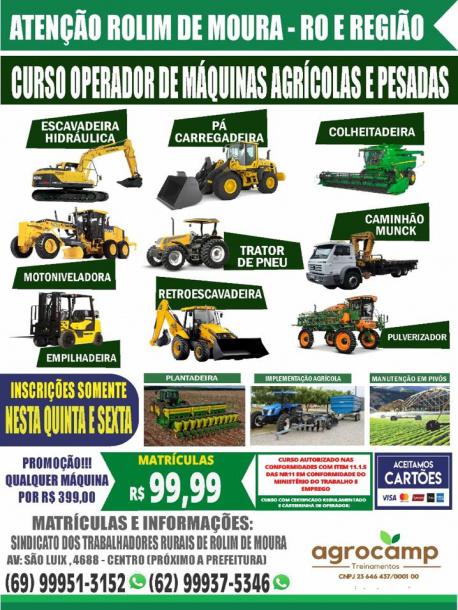 CURSO DE OPERADOR DE MAQUINAS AGRÍCOLAS E PESADAS