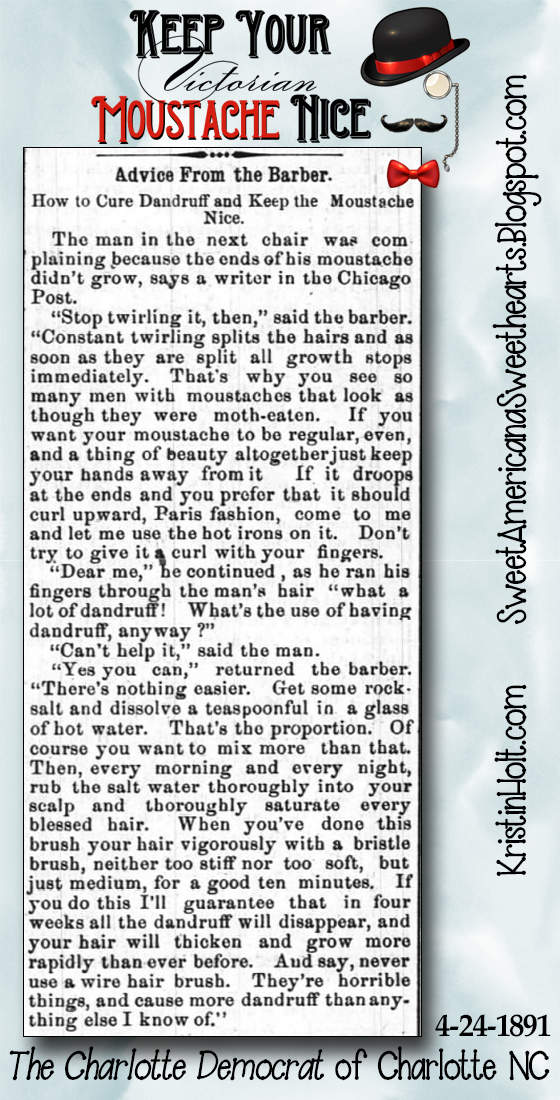 Kristin Holt | Keep Your Moustache Nice: an article original to the Chicago Post, published in The Charlotte Democrat of Charlotteville NC on April 24, 1891.