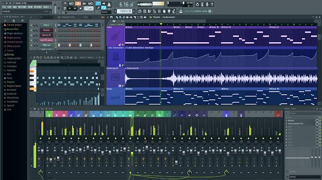 صورة من داخل برنامج FL Studio الاصدار الاخير 12.4