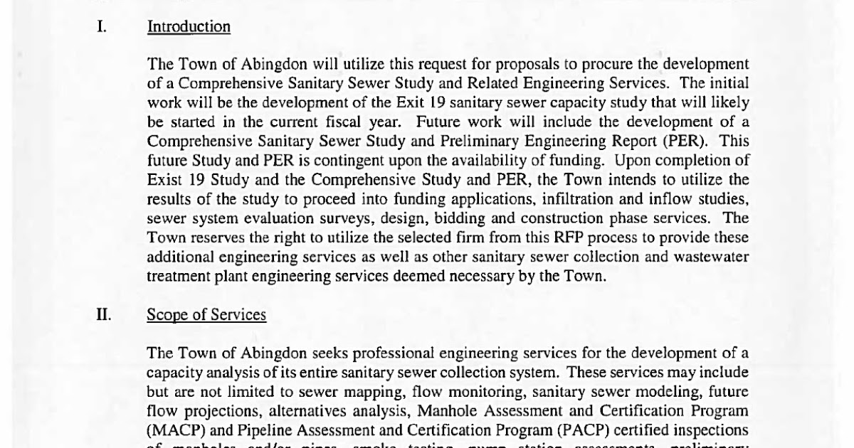 Town of Abingdon, Virginia : Sanitary Sewer RFP