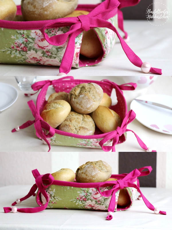 Collage - selbst genähtes Körbchen Mathilda von The Crafting Café mit Schleifen als Brotkorb auf dem Frühstückstisch Nähblog