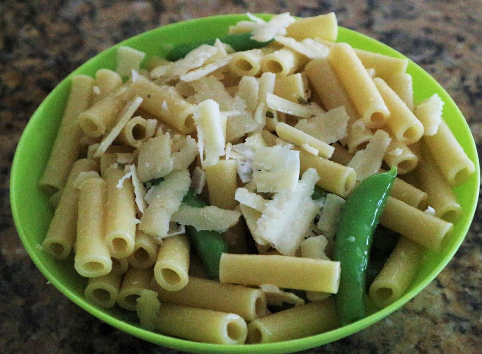 pasta olive oil peas shaved parmesan