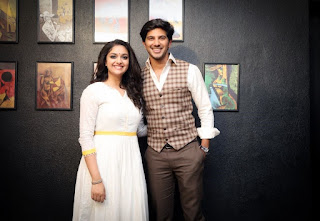 Keerthy Suresh with Dulqer Salmaan at Mahanati Promotions