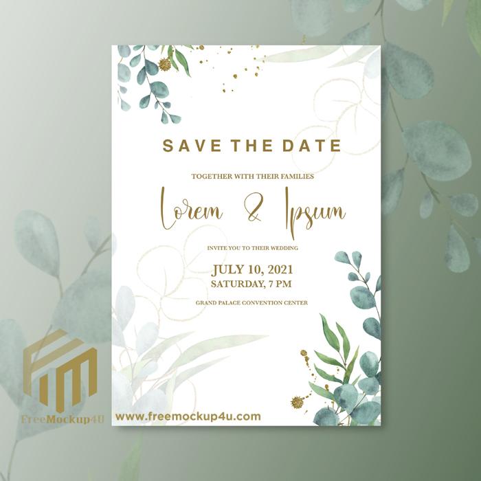 Minimalist Wedding Invitation With Eucalyptus Leaves
