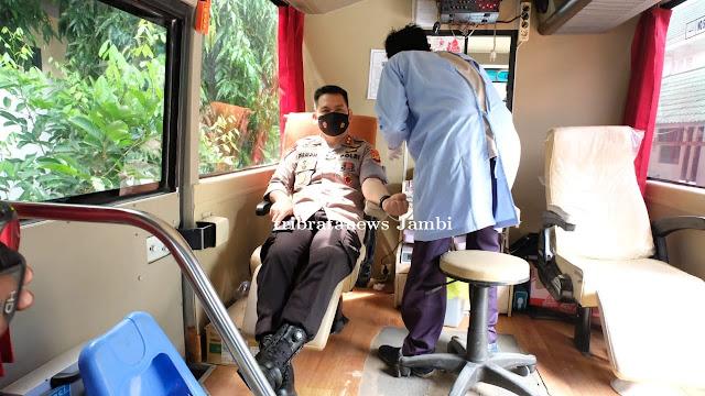 Kapolda Jambi Ikut Berpartisipasi Donor Darah di HUT Pol Airud ke 70