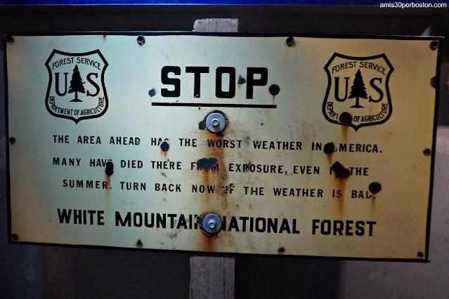 Cartel Informativo sobre el Clima en Mount Washington