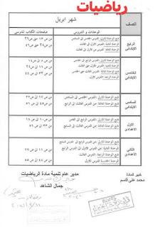 توزيع منهج رياضيات شهر أبريل المرحلة الابتدائية و الإعدادية
