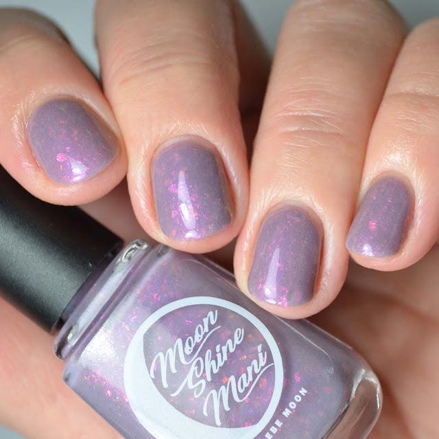purple flakie nail polish swatch