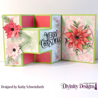 Stamp/Die Duos: Merry Christmas, Custom Dies: Half-Shutter Card with Layers, Peaceful Poinsettias, Pine Branches, Merry Christmas Caps, Scalloped Circles, Paper Collection, Christmas 2018