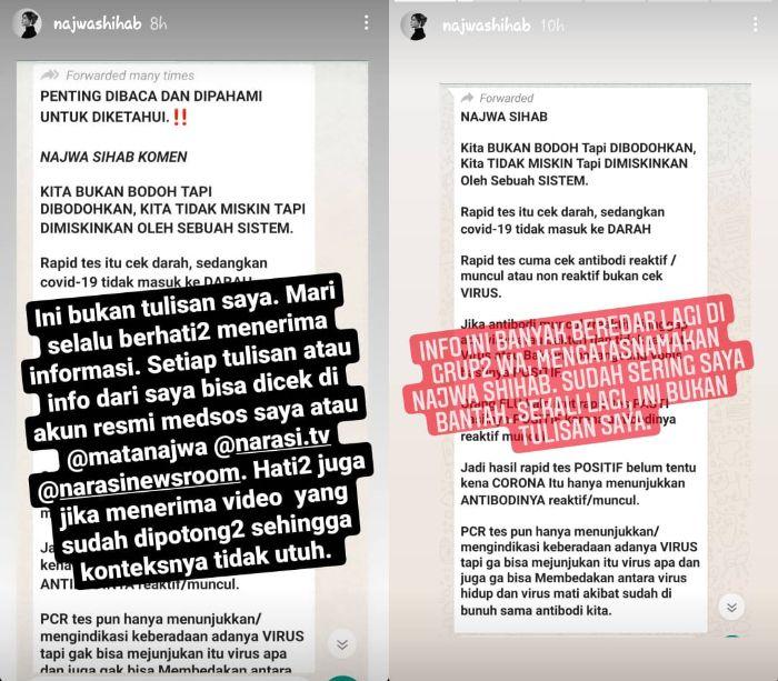 Kabar Hoaks yang mengatasnamakan Najwa Shihab. Instagram @najwashihab