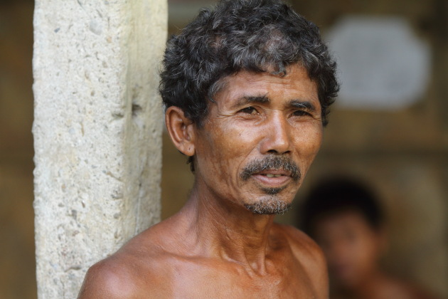 Portrait of a man from Mishing tribal village, Panbari, Assam