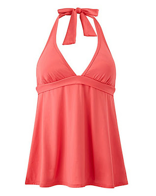 Floaty halter style tankini top, in Coral, by Sunseeker.