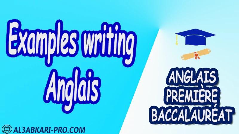 Examples writing Anglais - Grammar Courses - Anglais Première baccalauréat PDF English 1 ère Bac première baccalauréat 1 er bac 1 ere