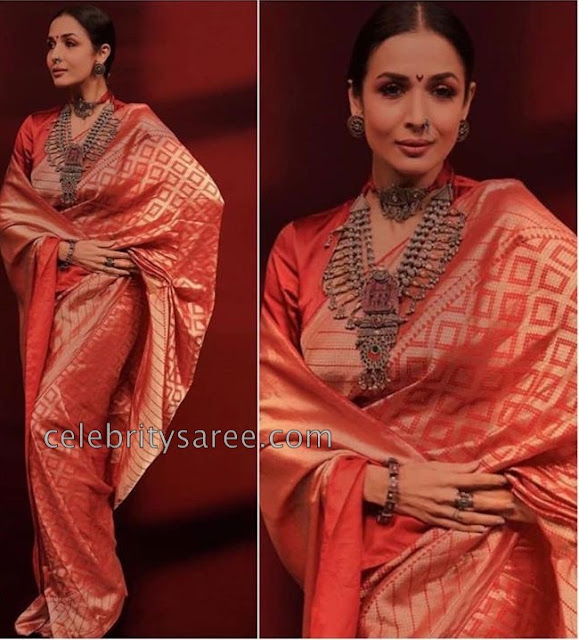 Malaika Arora Red Kanchi Pattu Saree
