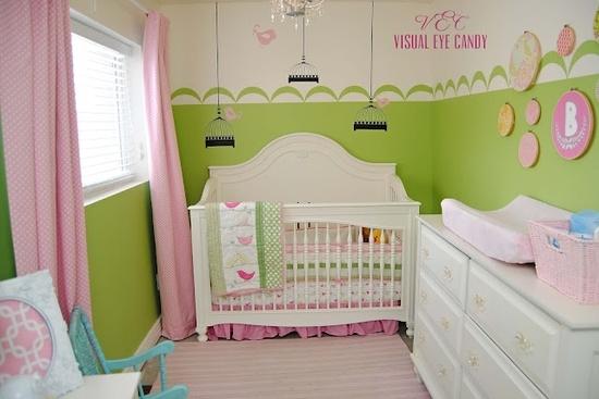 Dormitorios de beb en rosa y verde dormitorios colores y estilos - Accesorios habitacion bebe ...