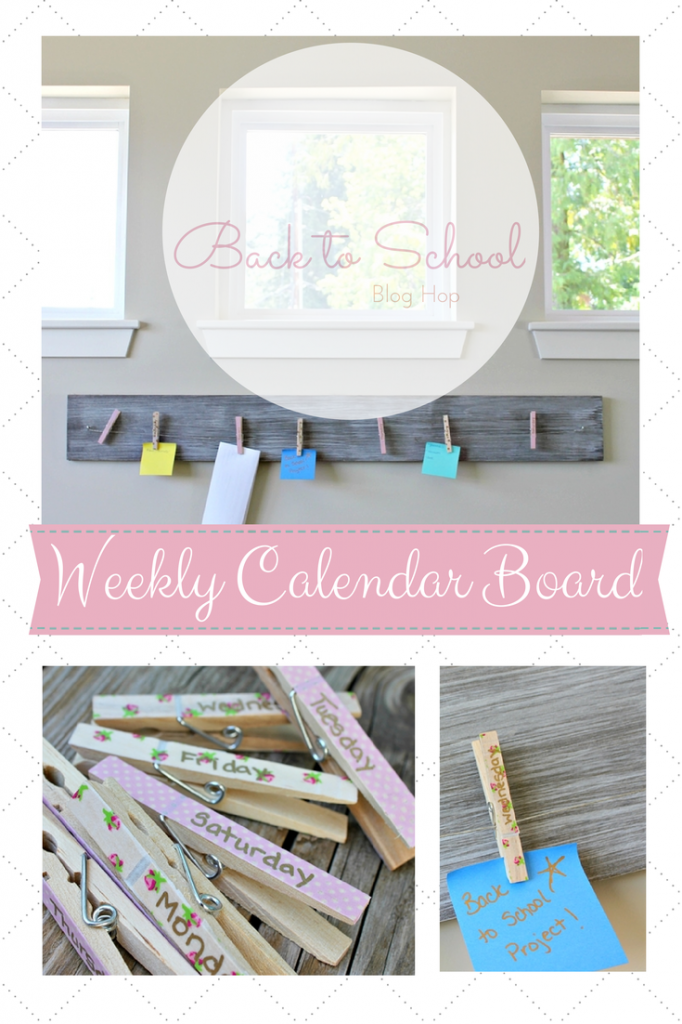 A Weekly Calendar Board with clothes pins.