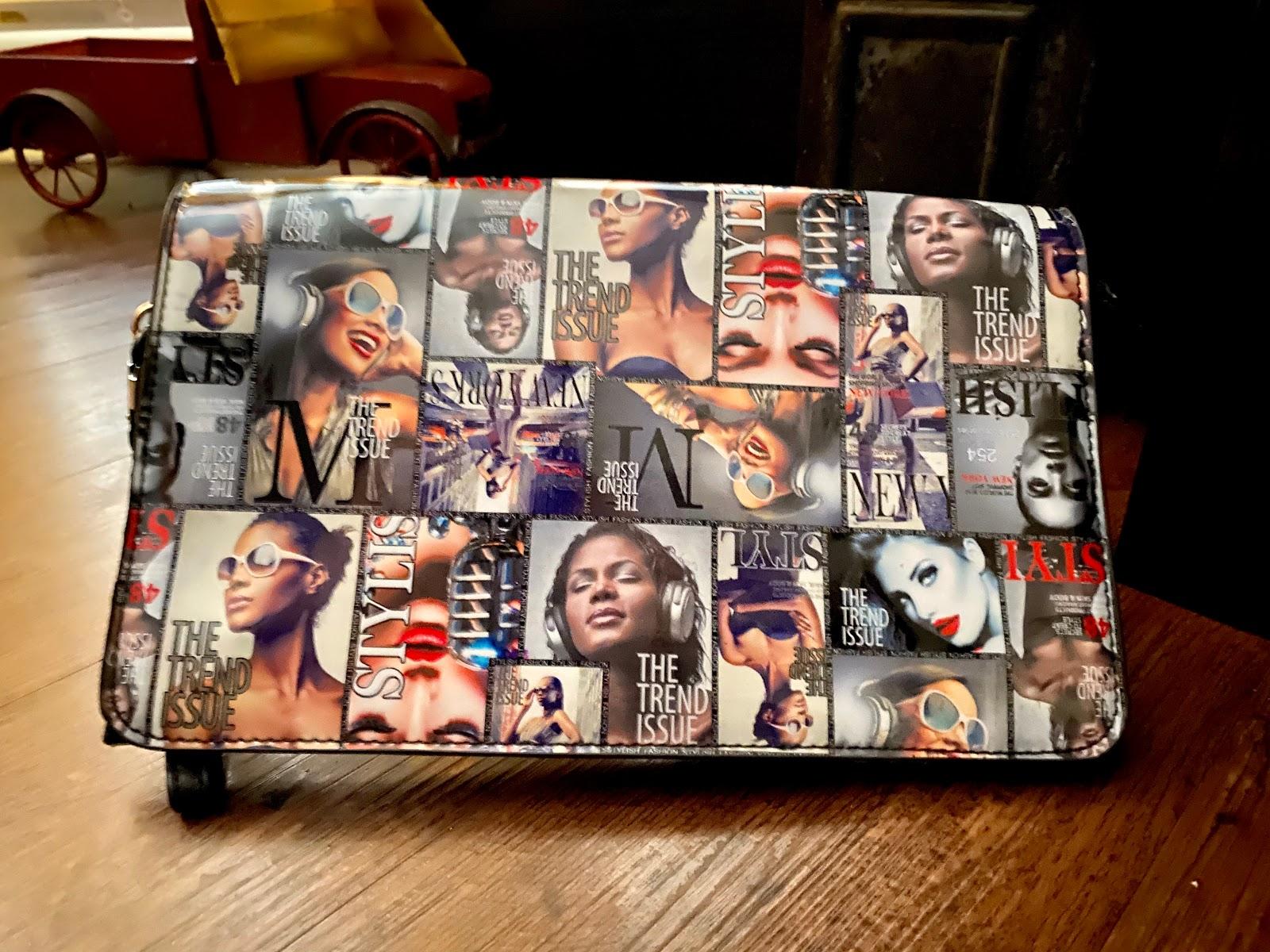 Magazine clutch handbag. Accessories That Look Good On Women: Thrift Bits And Favorites