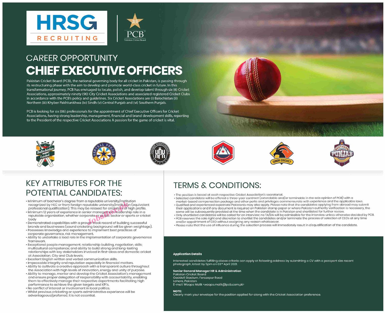 Latest Pakistan Cricket Board PCB Jobs 2021