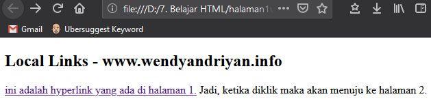 Tampilan Hyperlink Local Halaman 1