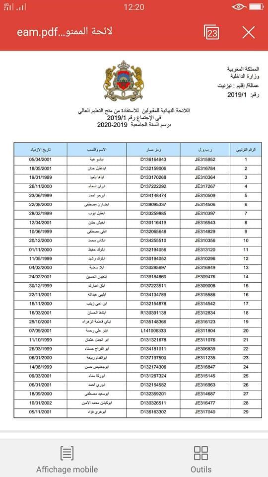 لائحة المقبولين للاستفادة من المنحة الجامعية 2019/2020 جميع المدن المغربية