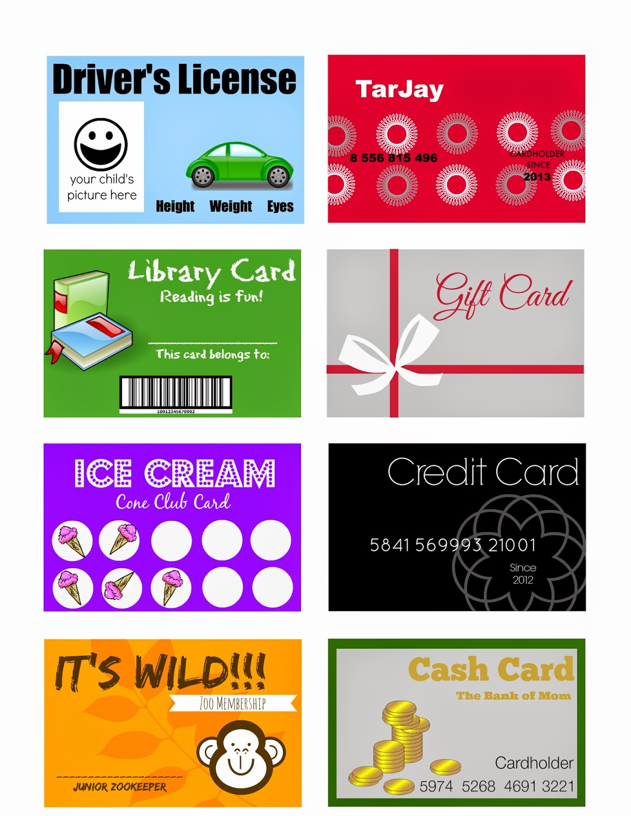 Elegant Crafts Printable Pretend Play Cards For Kids