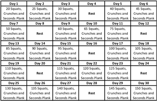 GET READY FOR A NEW ONE! 30 Day Squat, Crunch and Plank