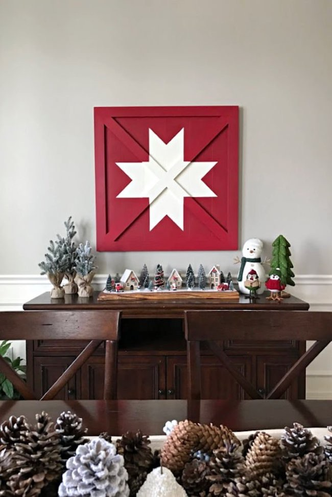 Wooden DIY Barn Star Art - Pottery Barn Knock Off by Abbotts at Home featured at Pieced Pastimes