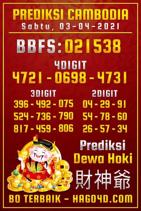 Prediksi Dewa Hoki - Rabu, 3 April 2021 - Prediksi Togel Cambodia