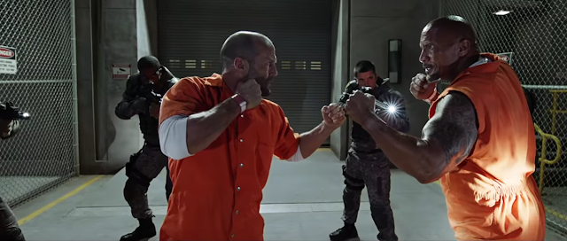 Jason Statham and Dwayne Johnson in Fast & Furious 8